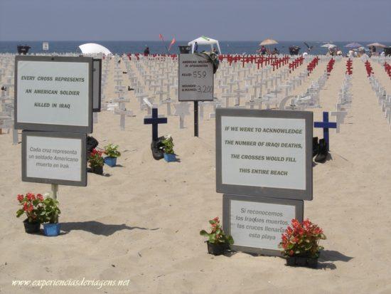 Um protesto na praia
